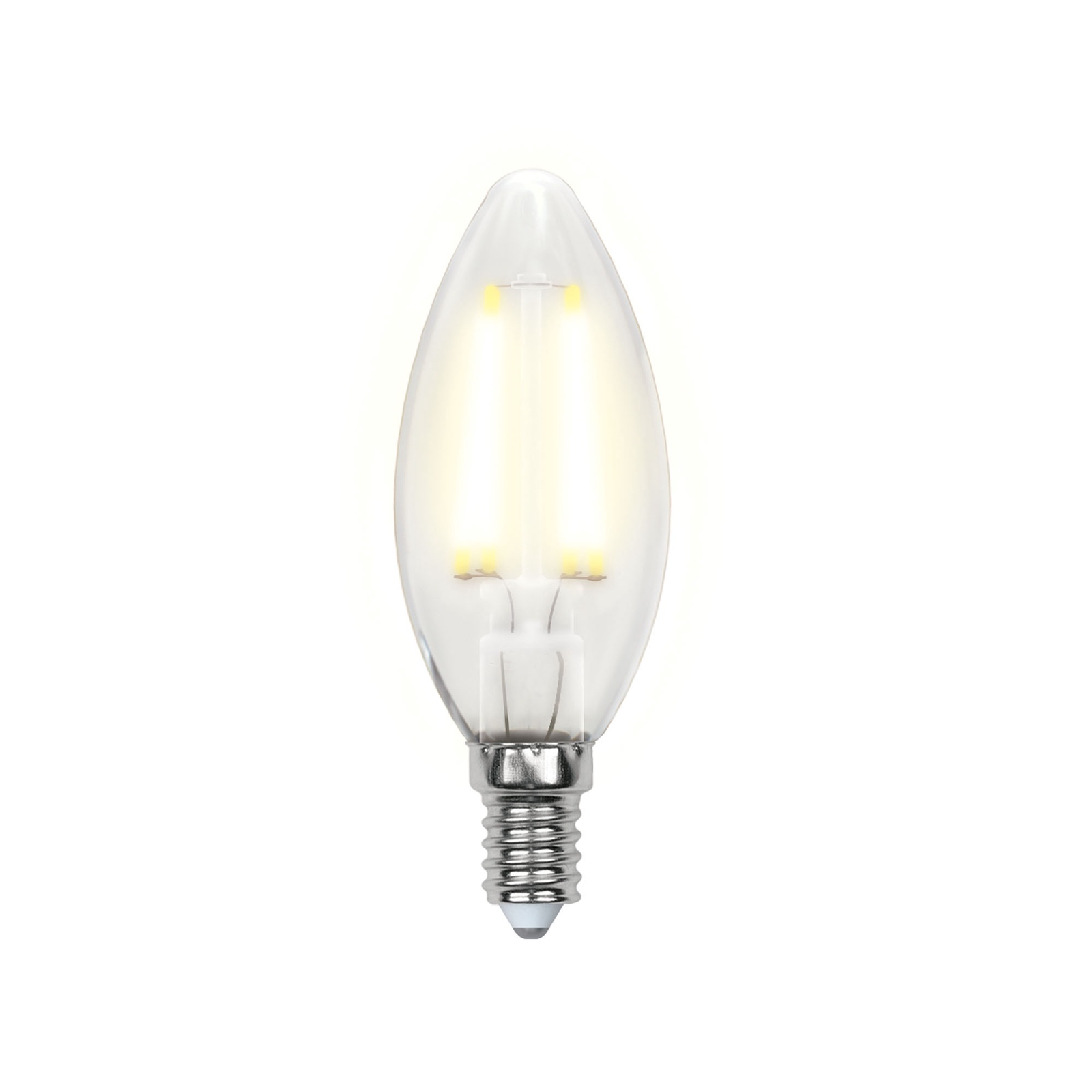 Лампочка Uniel LED-C35-6W/WW/E14/FR 3000K, Теплый свет 6 Вт, Светодиодная