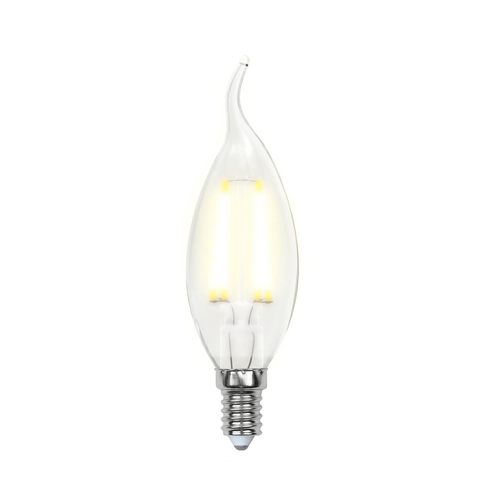 Лампочка Uniel LED-CW35-6W/WW/E14/FR 3000K, Теплый свет 6 Вт, Светодиодная