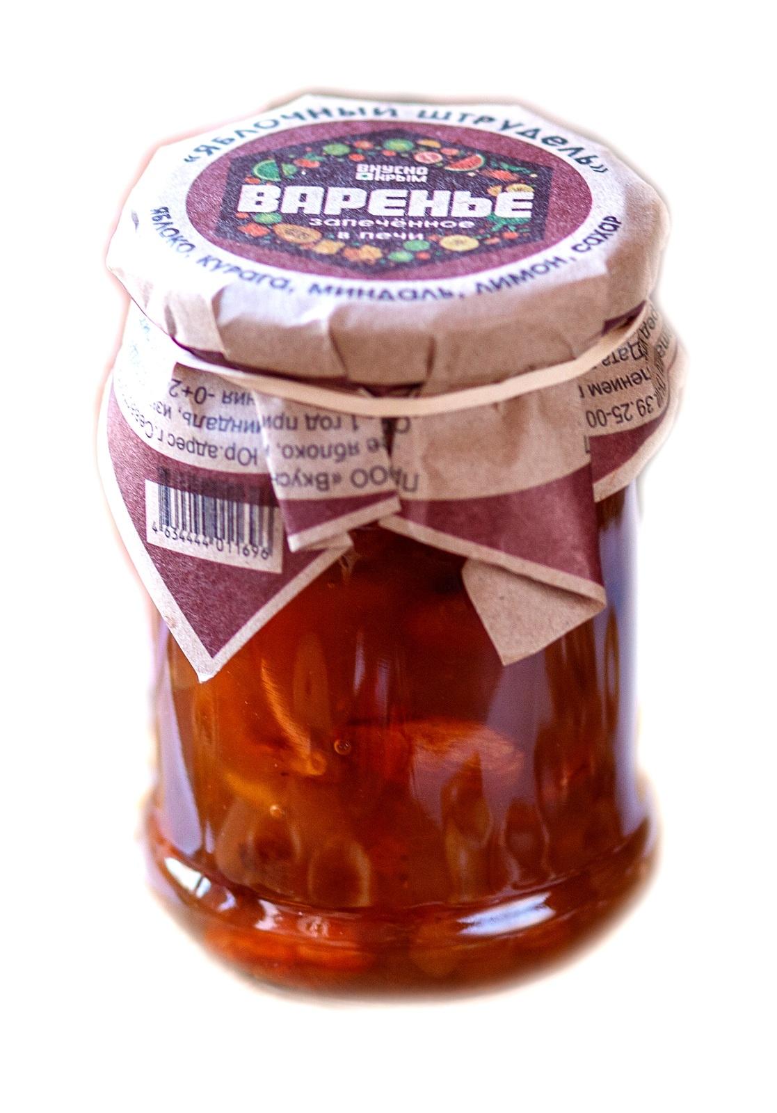 Варенье Вкусно Крым Яблочный штрудель (яблоко, курага, миндаль, изюм, корица) 250 мл.