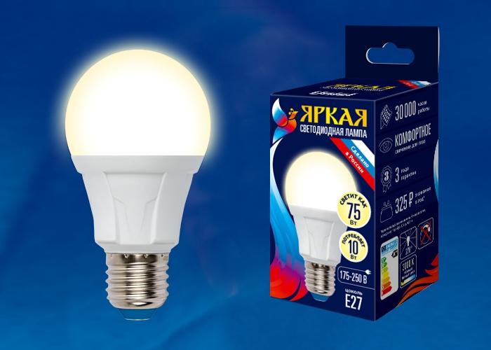 Лампочка Uniel LED-A60 10W/WW/E27/FR 3000K, Теплый свет 10 Вт, Светодиодная