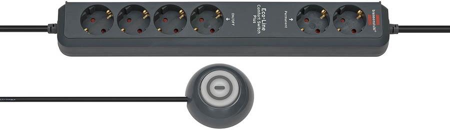1159560516 Brennenstuhl удлинитель Eco-Line Comfort Switch Plus, 1,5 м., черный