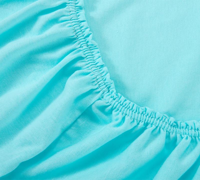 Простыня Ricotio трикотажная на резинке 90х200х20, цвет бирюза бирюзовый простыни арт постель простынь трикотажная на резинке бирюза 120 200 см