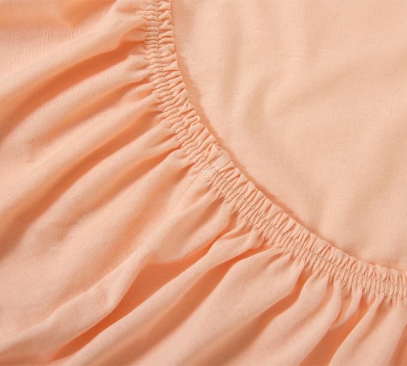 Простыня Ricotio трикотажная на резинке 90х200х20, цвет персик оранжевый простыни арт постель простынь трикотажная на резинке мотылек 120 200 см