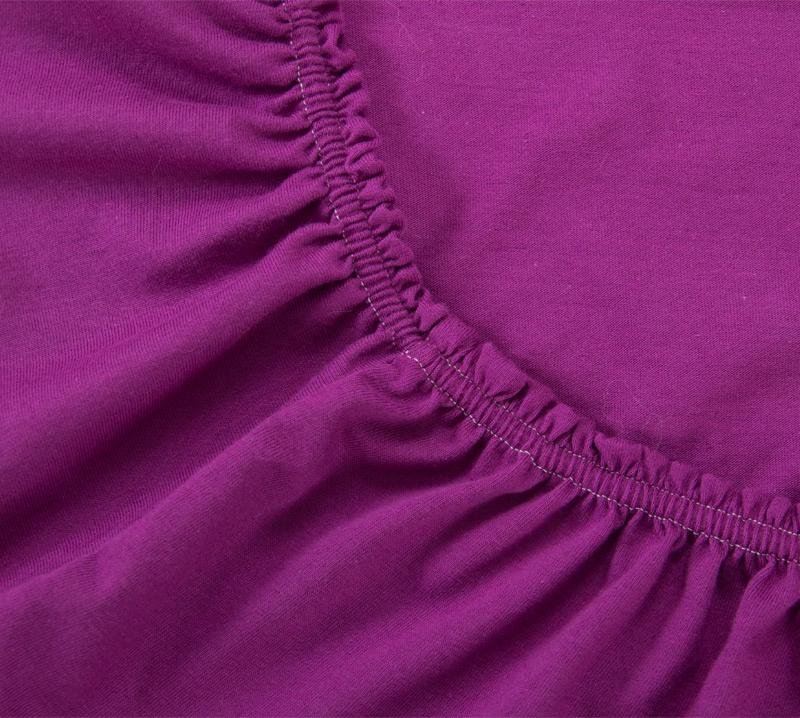 Простыня Ricotio трикотажная на резинке 90х200х20, цвет фиолетовый бежевый простыни арт постель простынь трикотажная на резинке бирюза 120 200 см