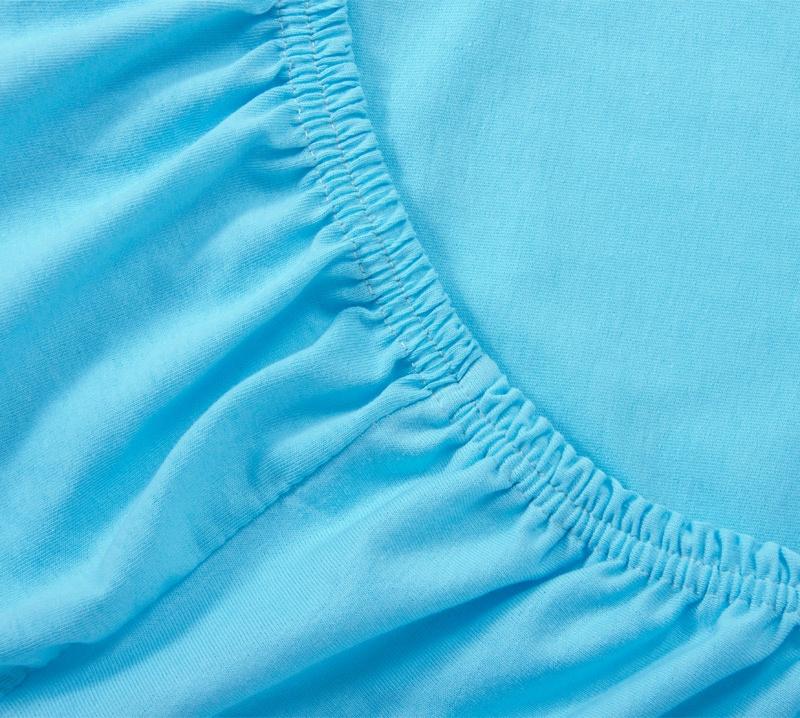 Простыня Ricotio трикотажная на резинке 160х200х20, цвет голубой голубой простыни арт постель простынь трикотажная на резинке мотылек 120 200 см