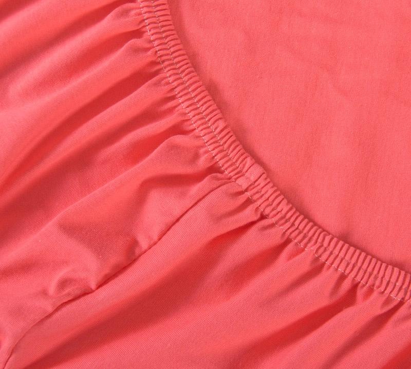 Простыня Ricotio трикотажная на резинке 120х200х20, цвет коралловый коралловый простыни арт постель простынь трикотажная на резинке мотылек 120 200 см
