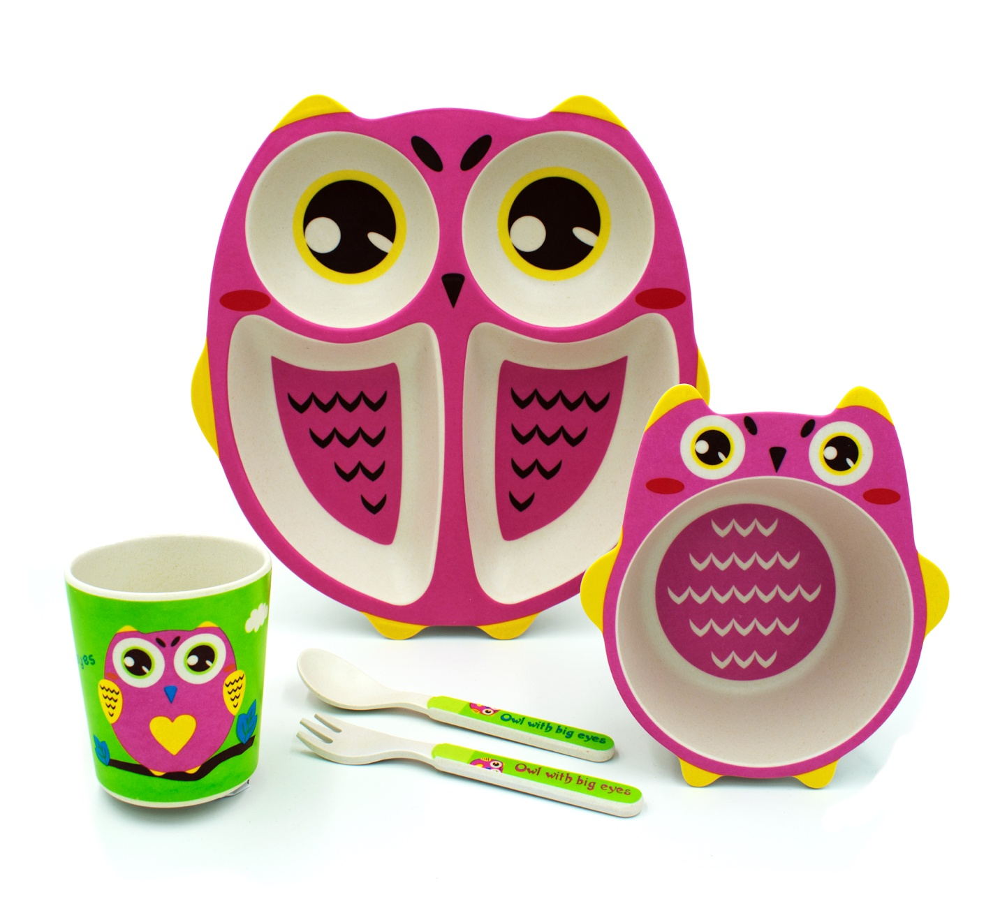 Комплект посуды Baozhiyu Розовая сова