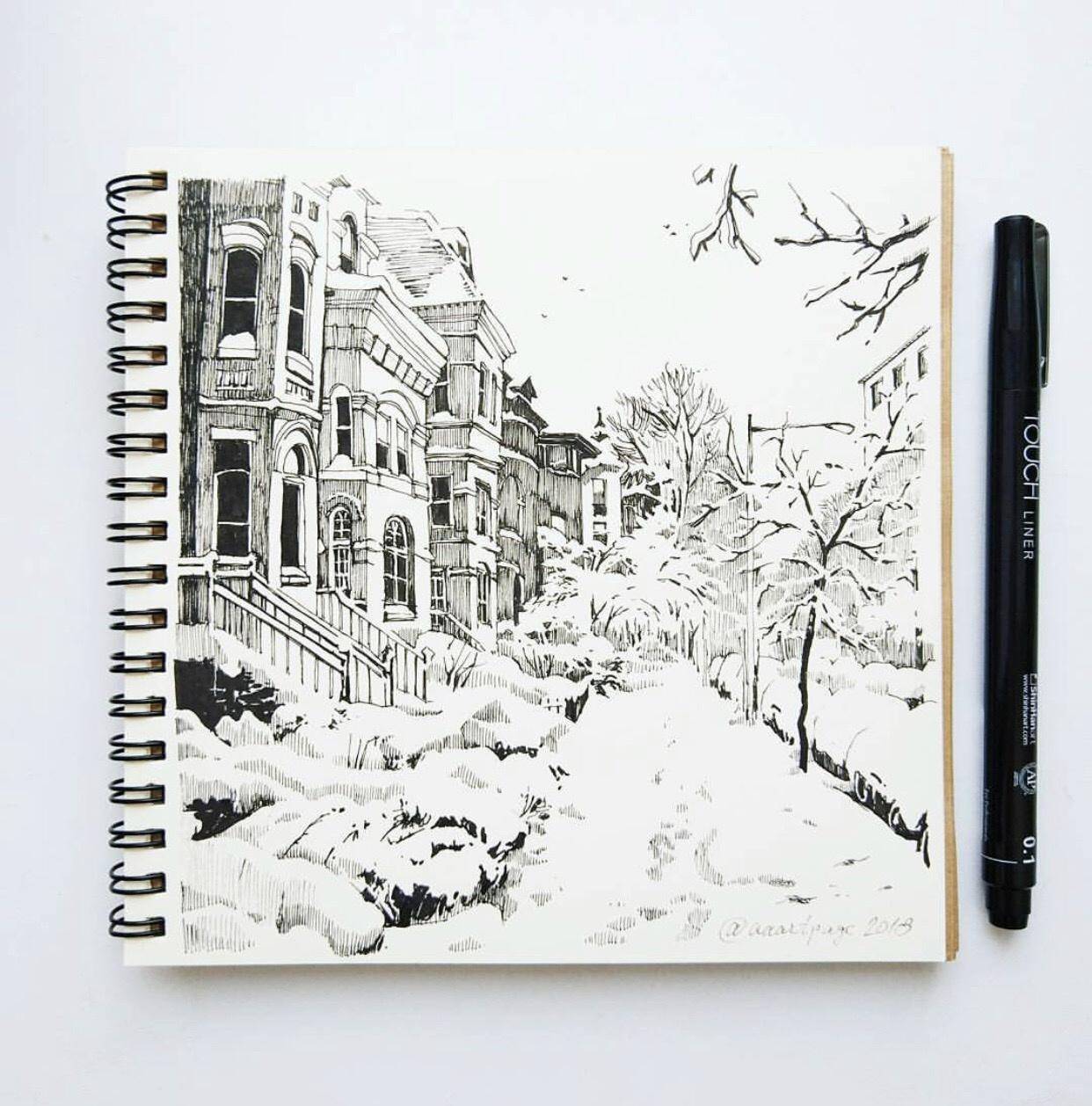 красивые зимние рисунки для скетчбука студенты