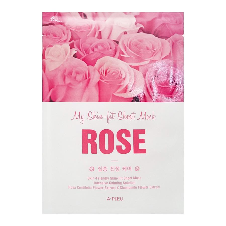 A'Pieu Тканевая маска MY SKIN-FIT SHEET MASK ROSE с экстрактом розы, 25г frudia blueberry hydrating natural maintains moisture увлажняющая тканевая маска для лица с экстрактом черники 27 мл