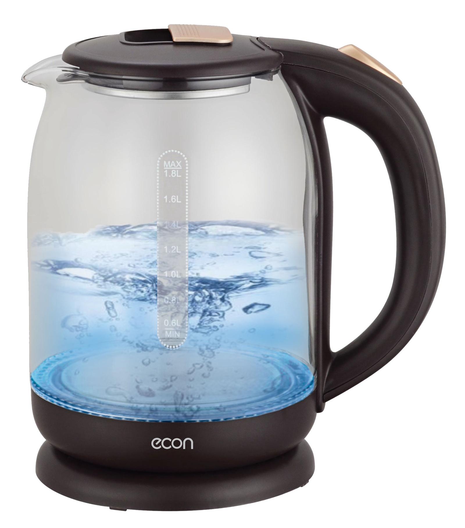 Электрический чайник ECON 1,8 л, стеклянный, с LED подсветкой