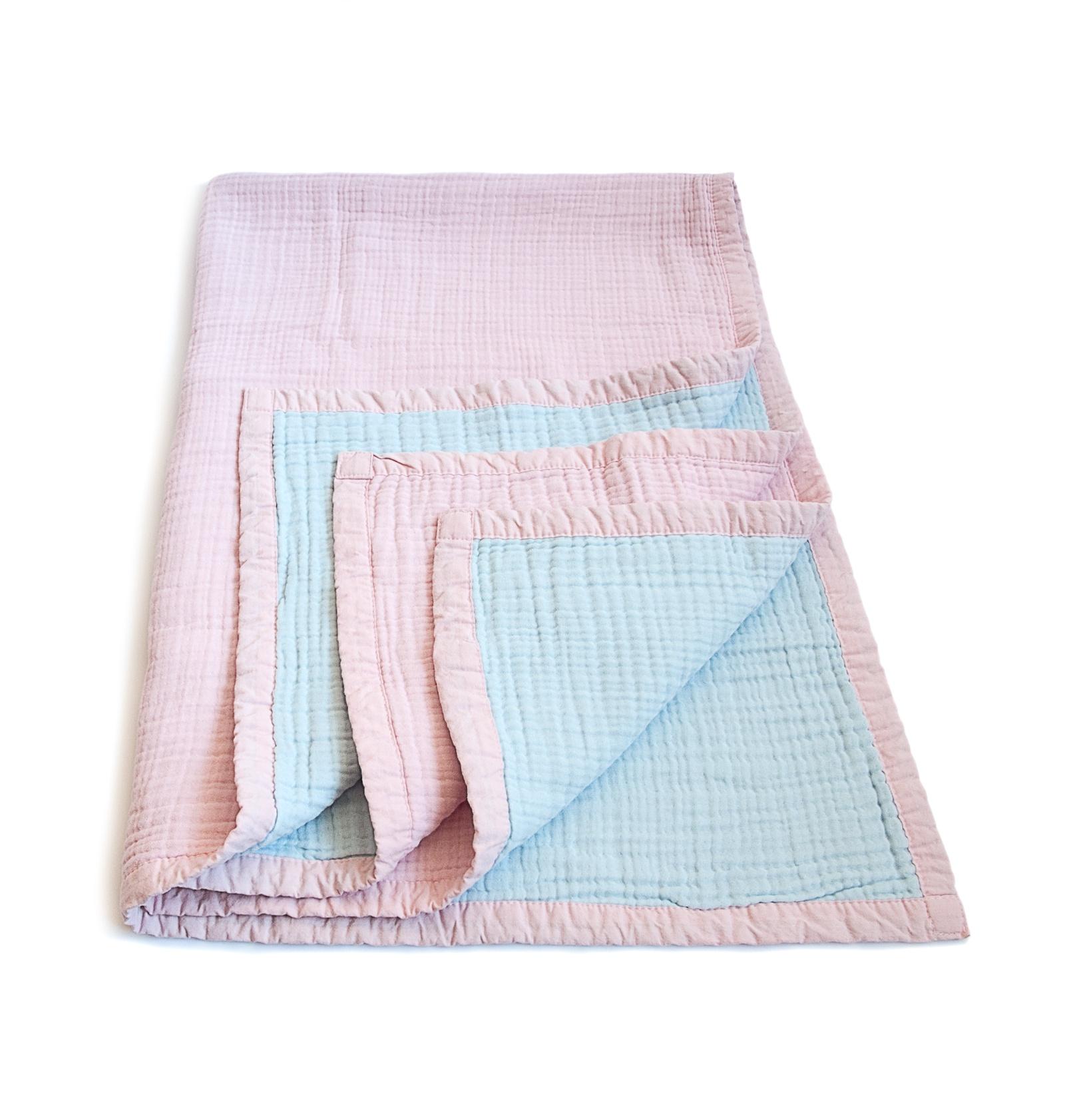 Муслиновое одеяло MamSi 8 слоев 120х90см розов-голубой