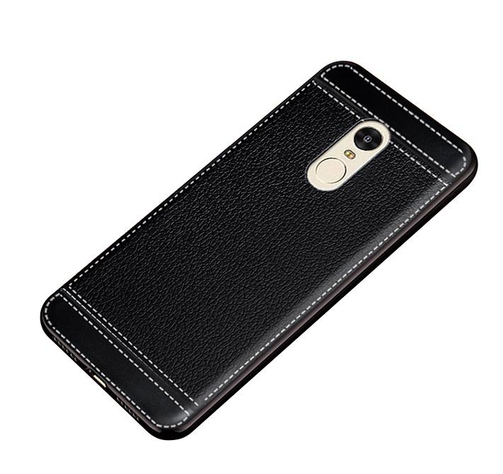 Чехол MyPads для Huawei Honor 6X из силикона с дизайном под кожу черный