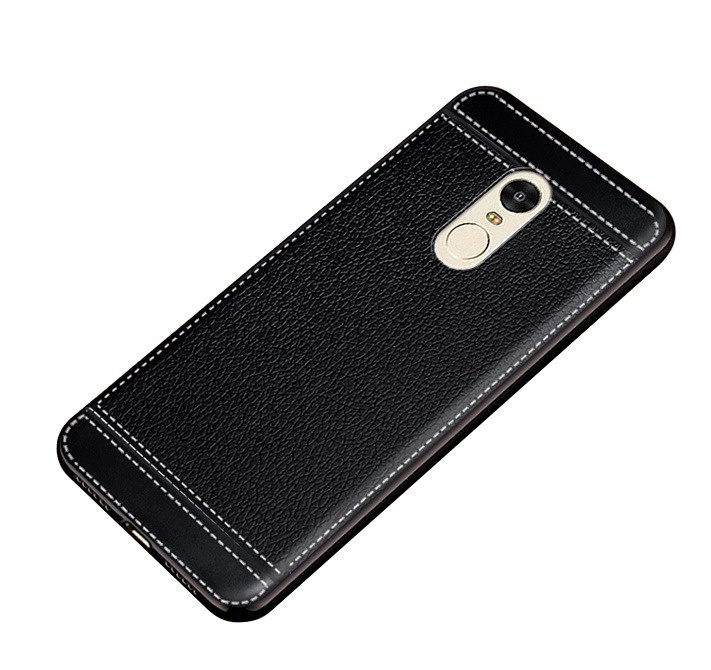 Чехол MyPads для Samsung Galaxy Note 5 из силикона с дизайном под кожу черный