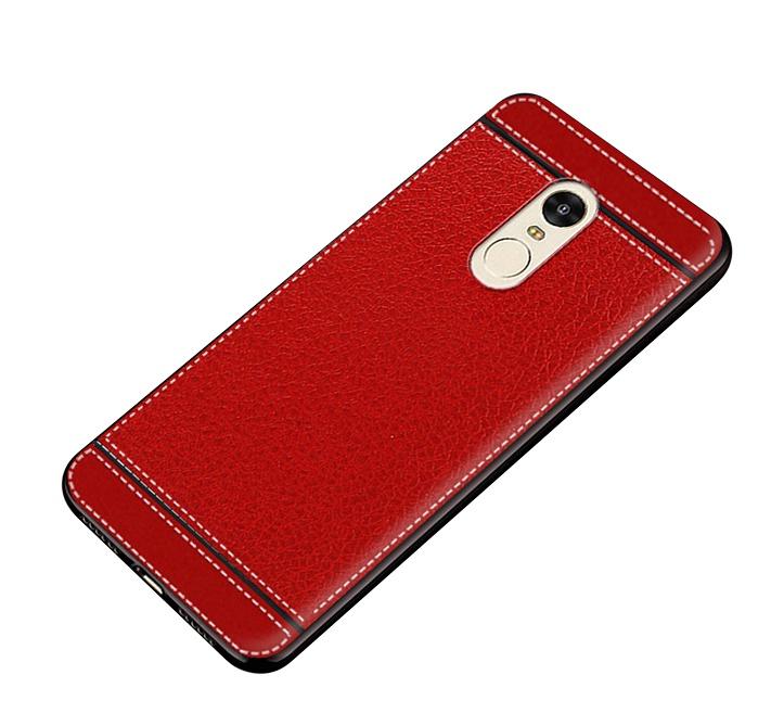 Чехол MyPads для Samsung Galaxy C7 из силикона с дизайном под кожу красный