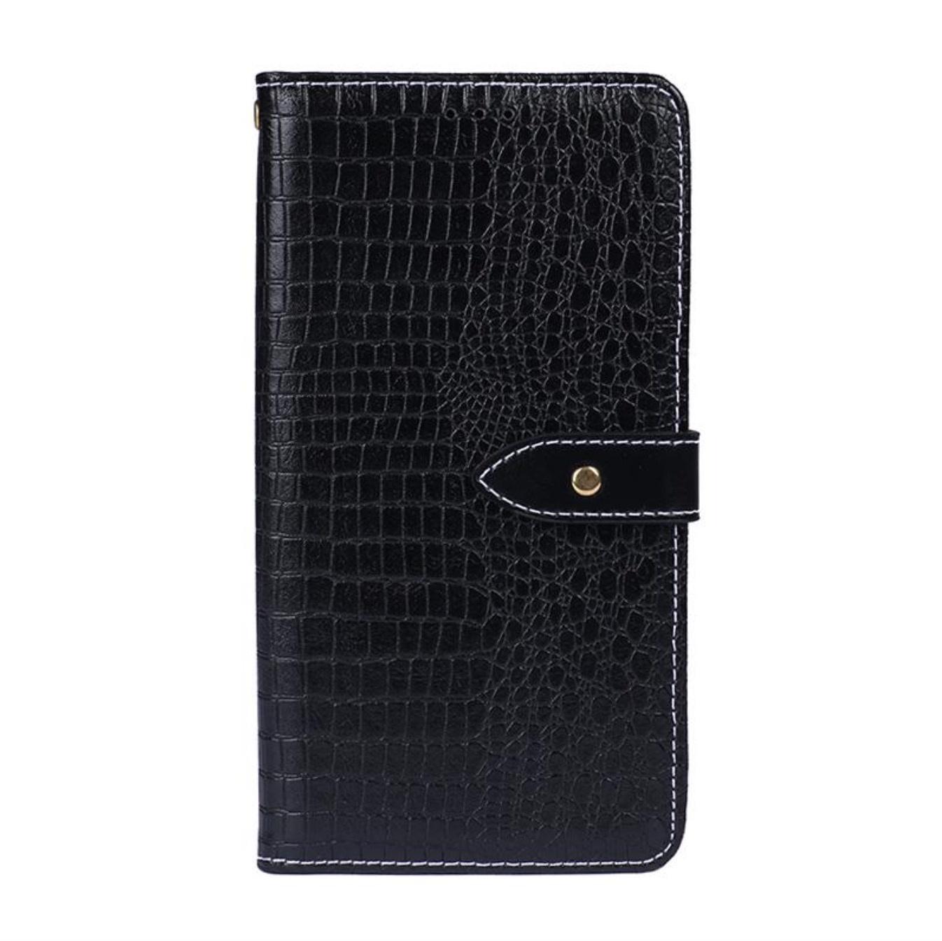 Чехол-книжка MyPads для OnePlus 7 Pro с фактурной прошивкой рельефа кожи крокодила с застежкой и визитницей черный