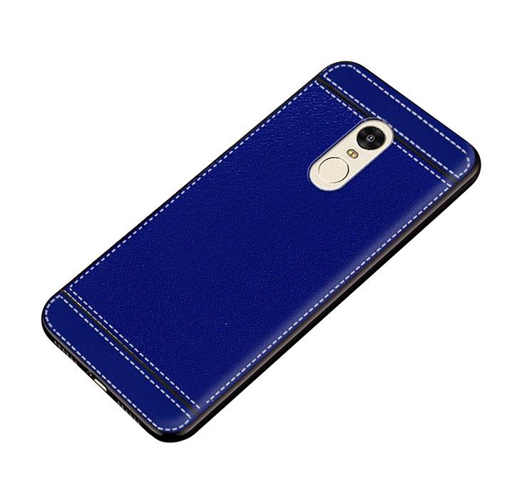 Чехол MyPads для Samsung Galaxy C7 из силикона с дизайном под кожу синий