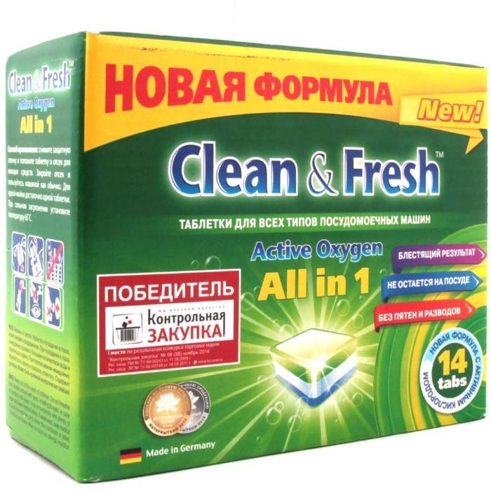 Таблетки для посудомоечных машин Clean & Fresh 5 в 1, 14 шт таблетки для посудомоечных машин clean