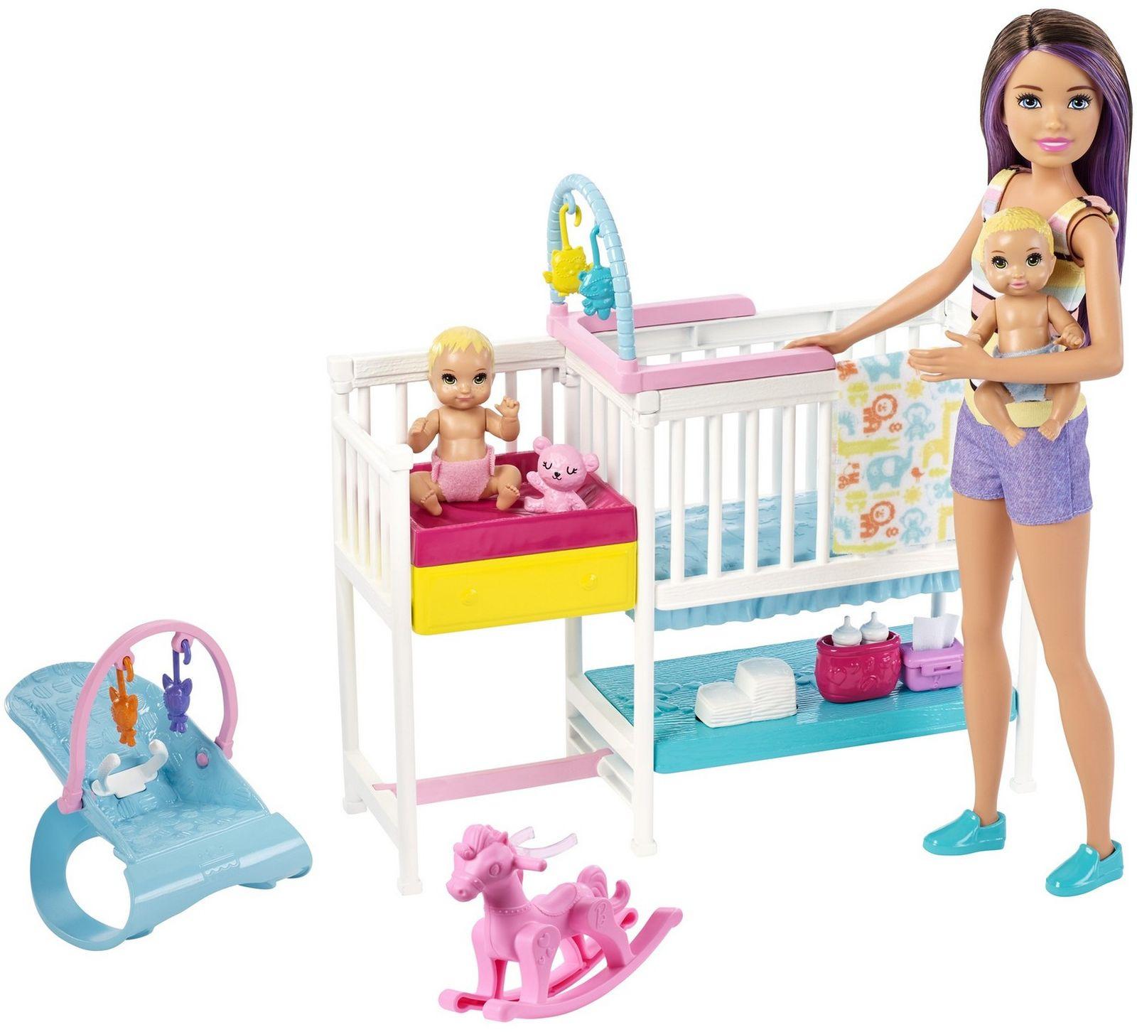 Интерактивная игрушка Barbie Скиппер и малыши, GFL38