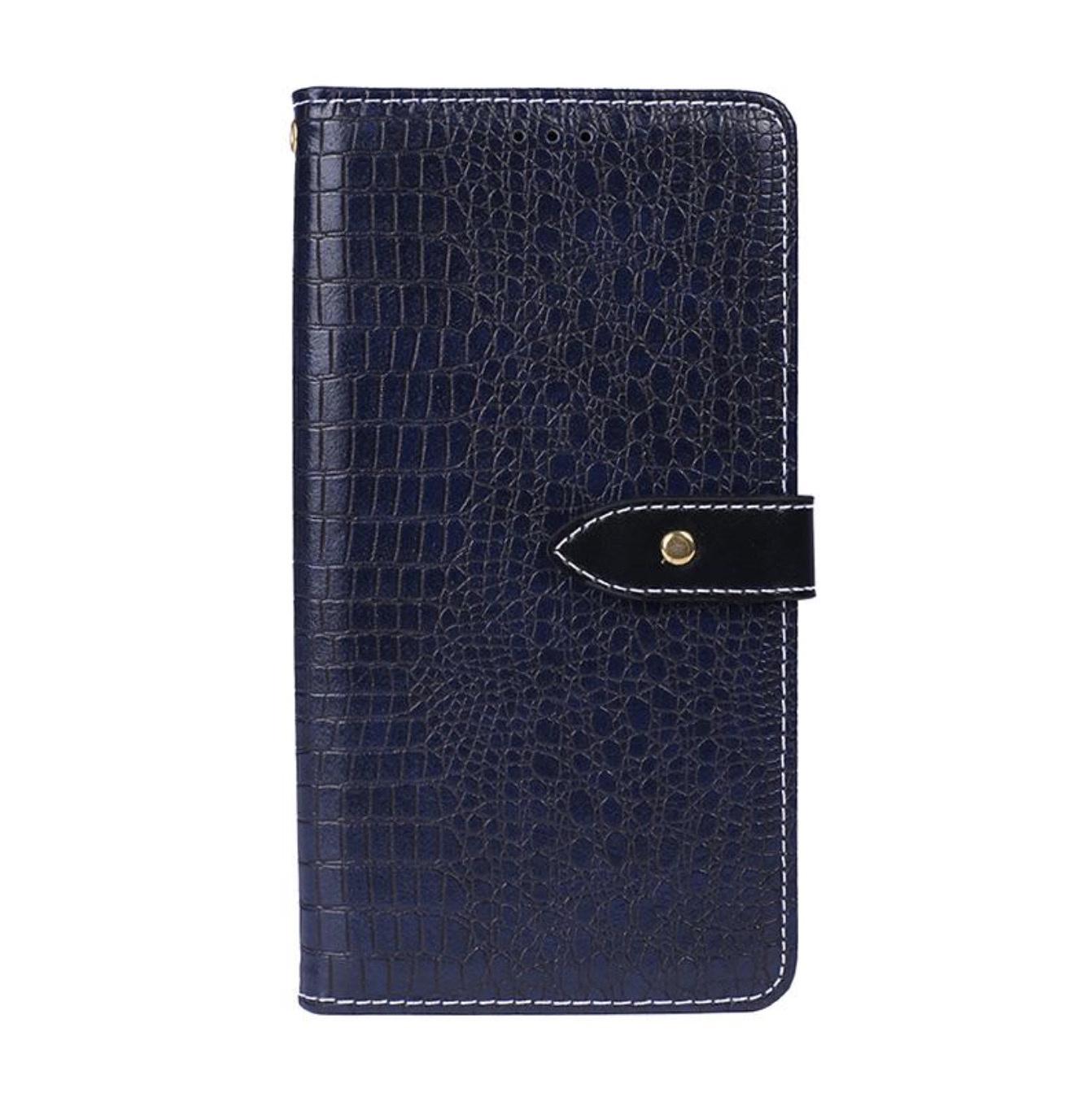 Чехол-книжка MyPads для Samsung Galaxy J4+ plus 2018 (SM-J415F) с фактурной прошивкой рельефа кожи крокодила с застежкой и визитницей синий