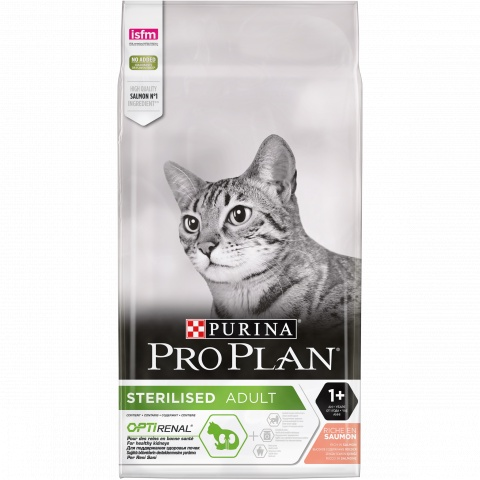 PRO PLAN Sterilised Salmon корм для взрослых кастрированных/стерилизованных кошек, с лососем 7кг корм pro plan sterilised утка 85g для стерилизованных кошек 61999