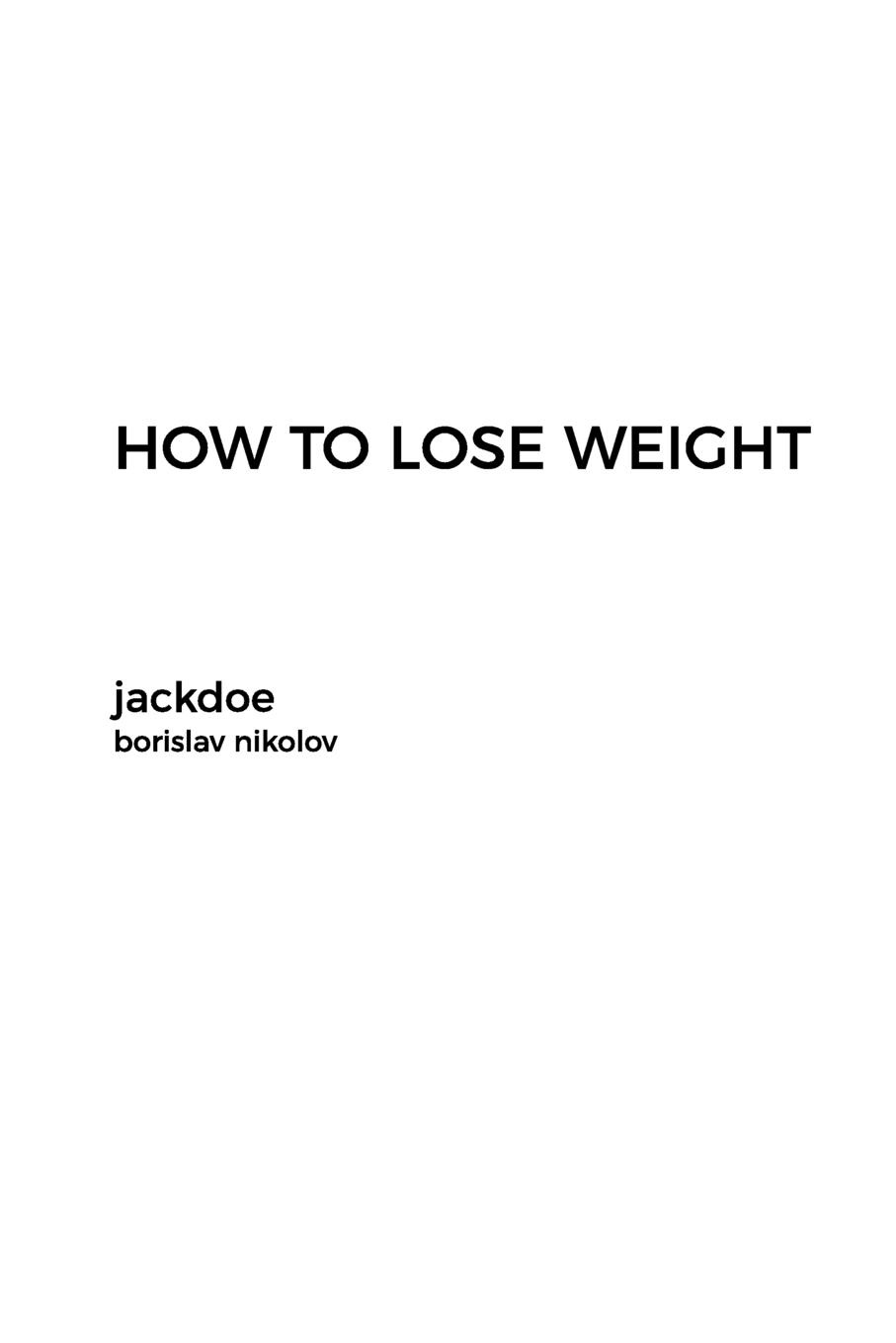 borislav nikolov HOW TO LOSE WEIGHT