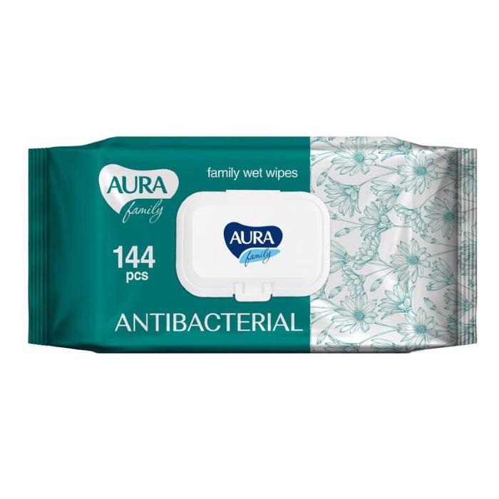Салфетки влажные AURA FAMILY с антибактериальным эффектом крышкой 144шт