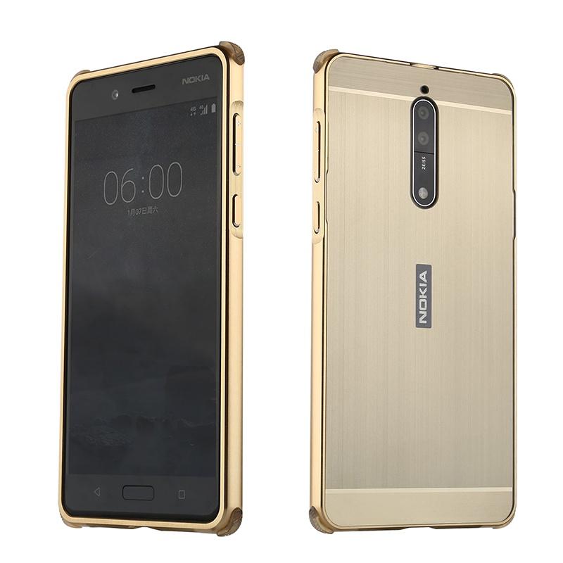 Чехол-бампер MyPads для Nokia 8 c алюминиевым металлическим бампером и поликарбонатной накладкой золотой