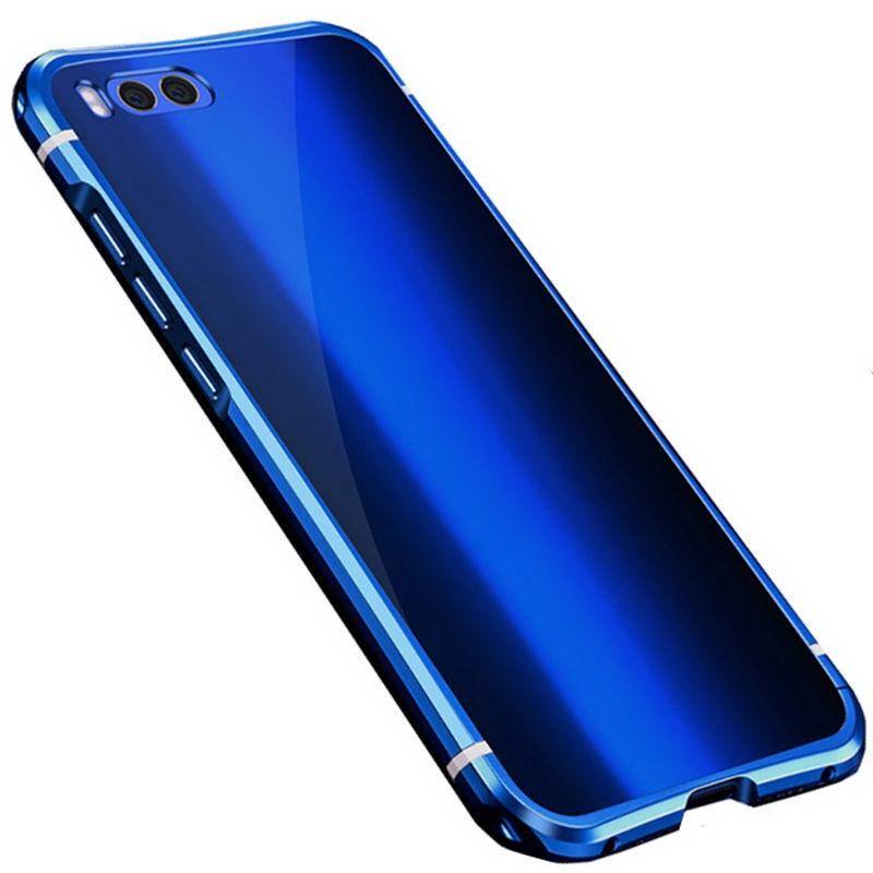 Чехол-бампер MyPads для Huawei Honor 9 c алюминиевым металлическим бампером и поликарбонатной накладкой синий