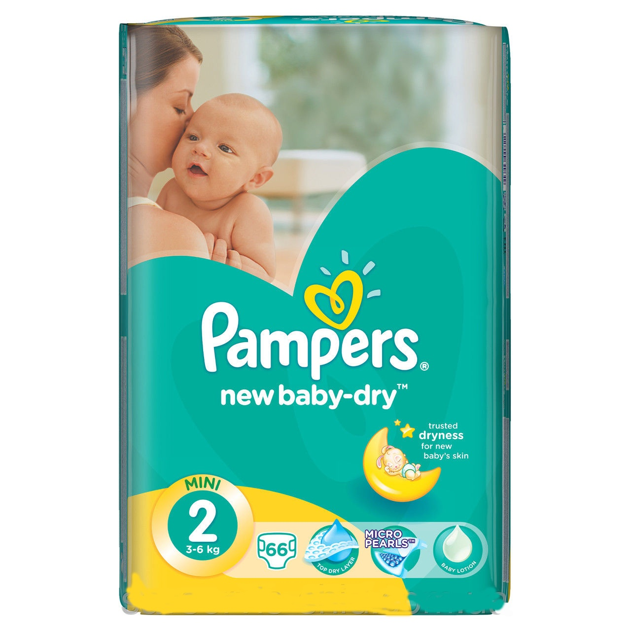 Подгузники Pampers New Baby-Dry 2 (3-6 кг), 66 шт