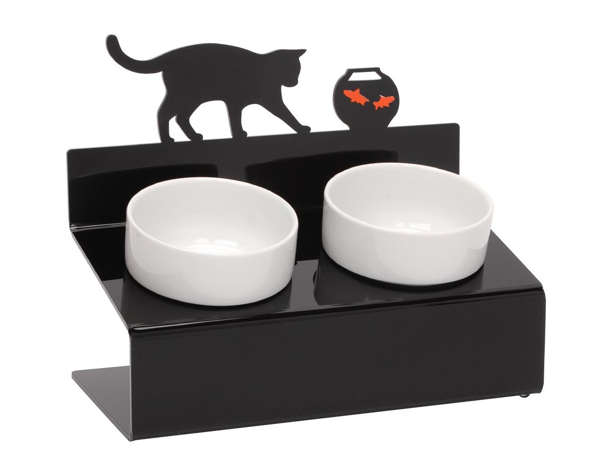 Миска для животных Artmiska Кот и рыбы двойная на подставке XS, чёрная, 2x360 мл миска artmiska кот и рыбы двойная на подставке для кошек 2 х 360 мл белый