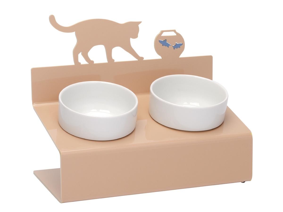 Миска для животных Artmiska Кот и рыбы двойная на подставке XS, кремовая, 2x360 мл миска artmiska кот и рыбы двойная на подставке для кошек 2 х 360 мл белый