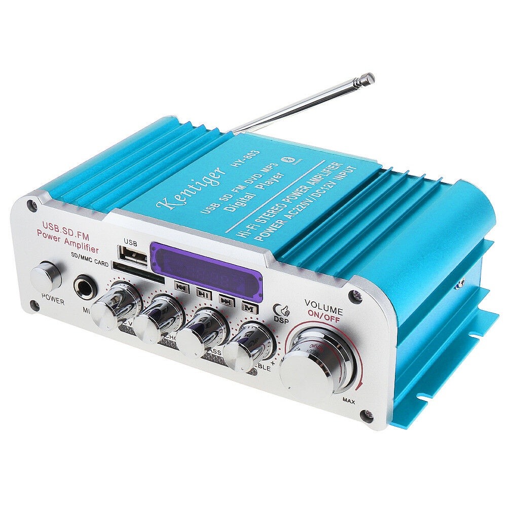 Kentiger HY803 Hi-Fi Стерео усилитель, Blue hy 502 hi fi цифровой автомобильный стерео усилитель мощности led звуковой режим аудио музыкальный плеер поддержка usb mp3 dvd sd fm