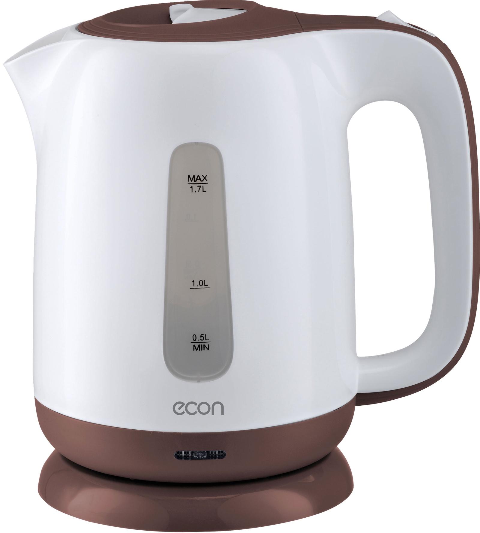 Электрический чайник ECON 1,7л, пластмассовый, с вращающейся подставкой ECON