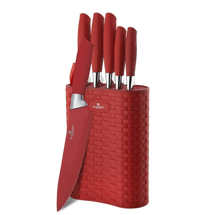 Набор ножей Blaumann Crocodile Line на подставке, 5057-BL, красный, 7 предметов набор ножей rainstahl на подставке цвет красный серый 8 предметов