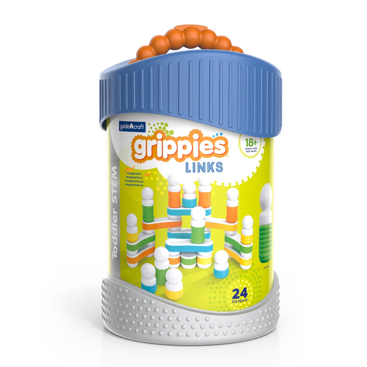 Конструктор магнитный для малышей Guide Craft Better Builders Grippies Links 24 детали