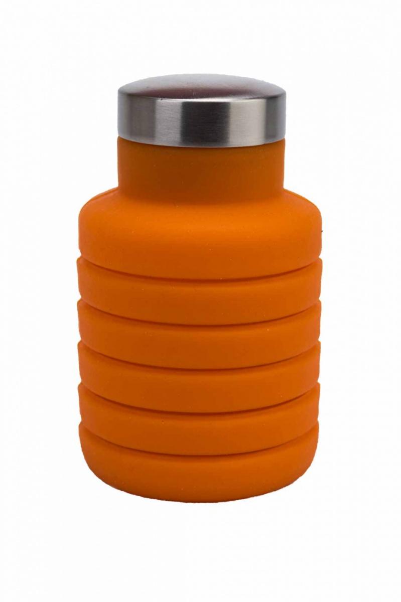Бутылка для воды силиконовая складная с крышкой