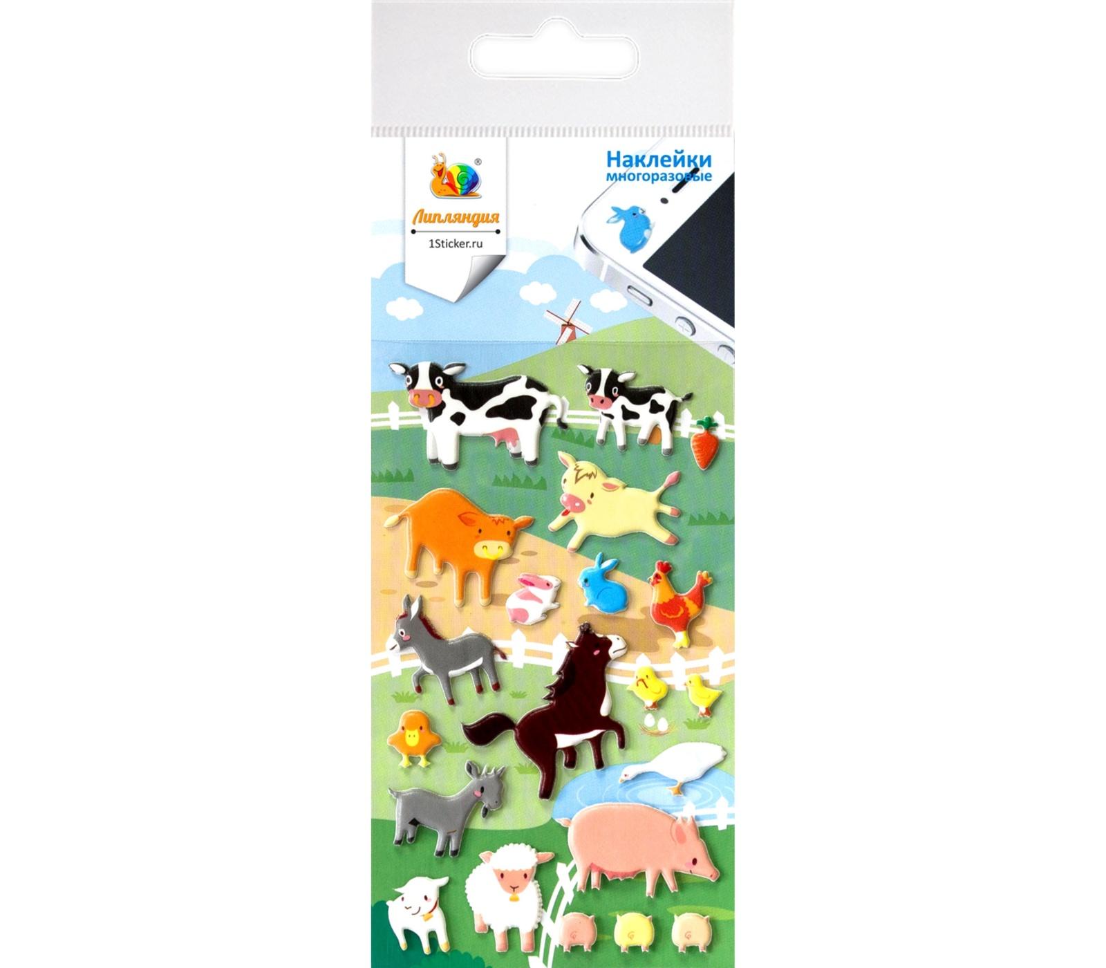 """Набор многоразовых наклеек """"Животные на ферме"""" (Липляндия 0587)"""