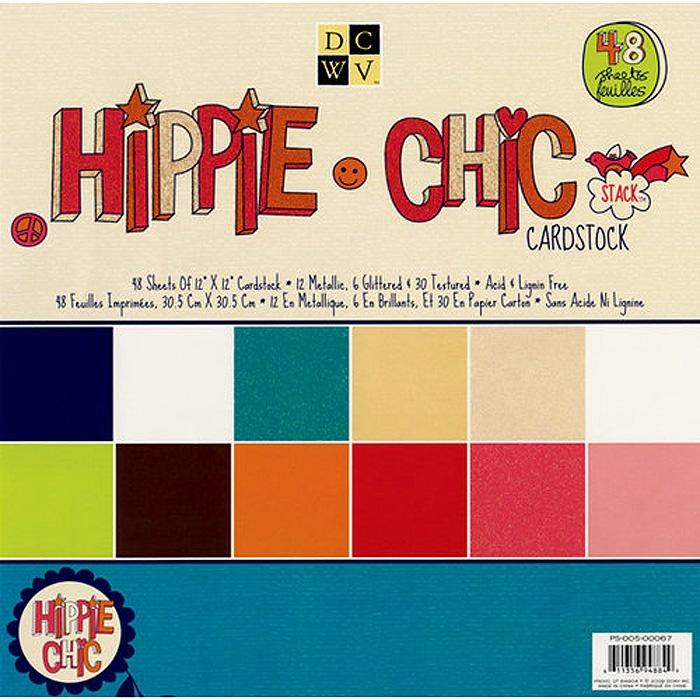 """Набор бумаги для скрапбукинга """"Hippie Chic Solid"""" (48 листов, 30х30 см.)"""