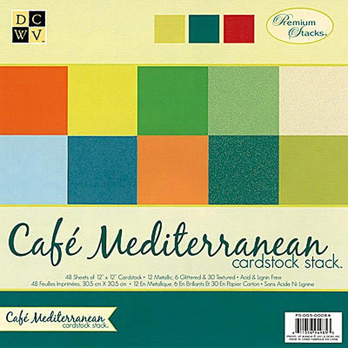 """Набор бумаги для скрапбукинга """"Cafe Mediterranean Solid Cardstock"""" (48 листов, 30х30 см.)"""