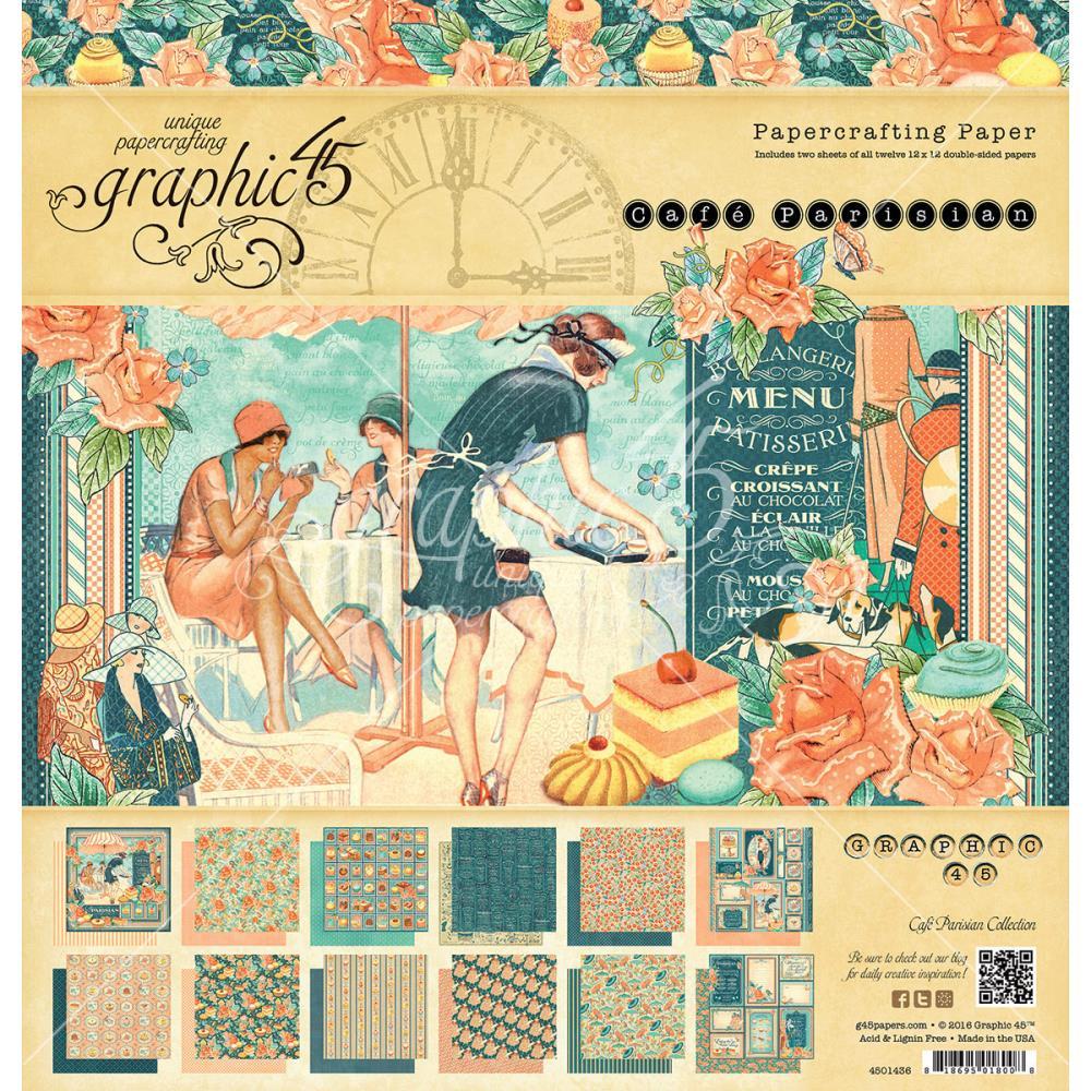 """Набор бумаги для скрапбукинга """"Cafe Parisian"""" (24 листа, 30 х 30 см.)"""