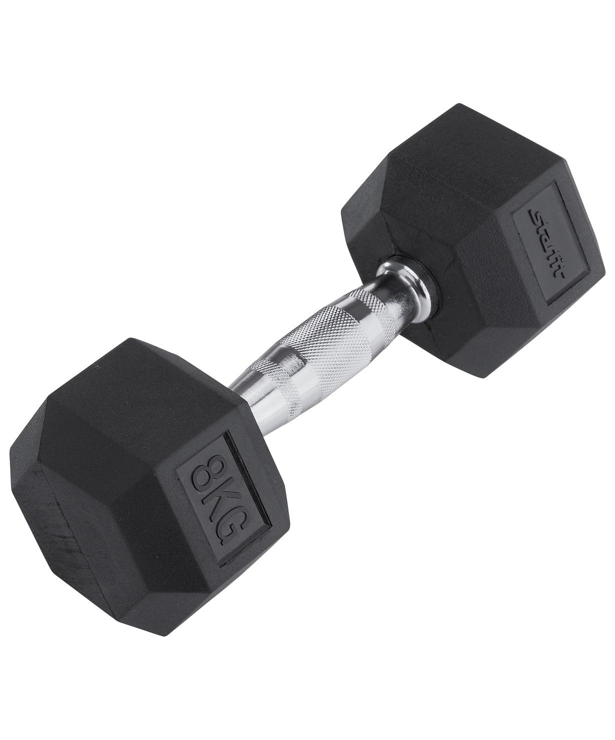 Гантель обрезиненная STARFIT DB-301  8 кг, черная 1/2