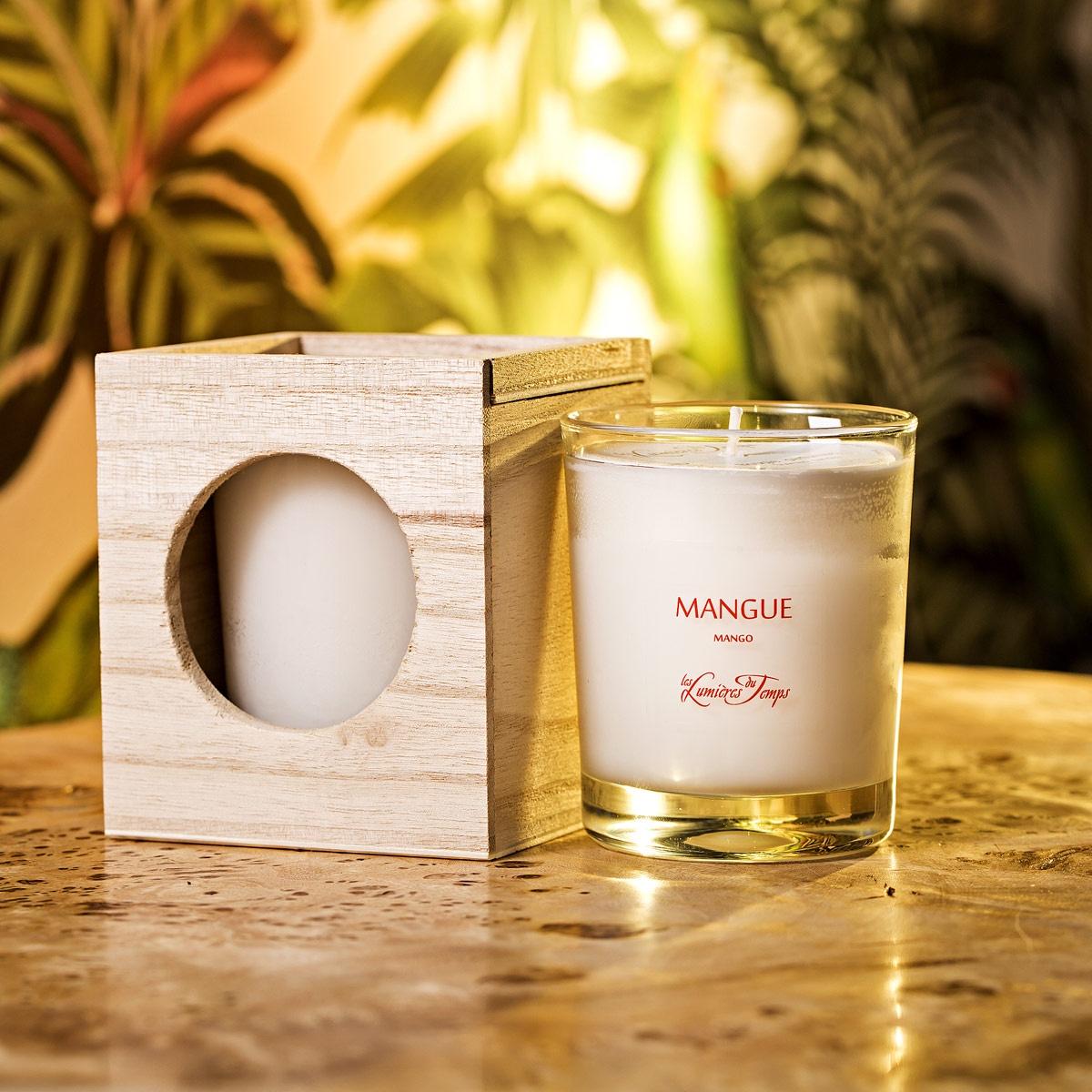 Ароматическая свеча из натурального воска в деревянной коробке Манго свеча тропическое манго ароматическая