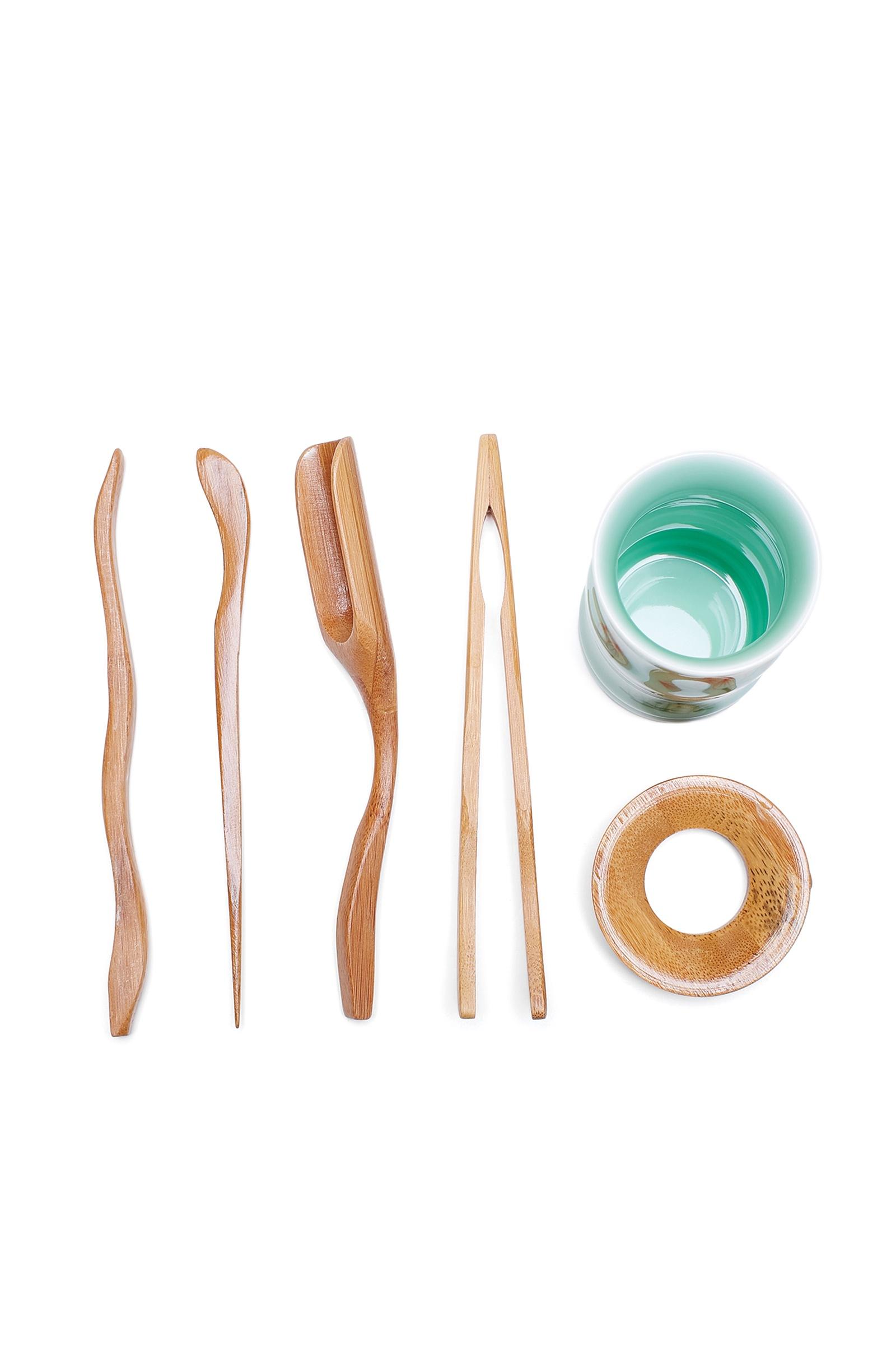 Набор чайных инструментов: ложка, игла, щипцы, лопатка, подставка, воронка