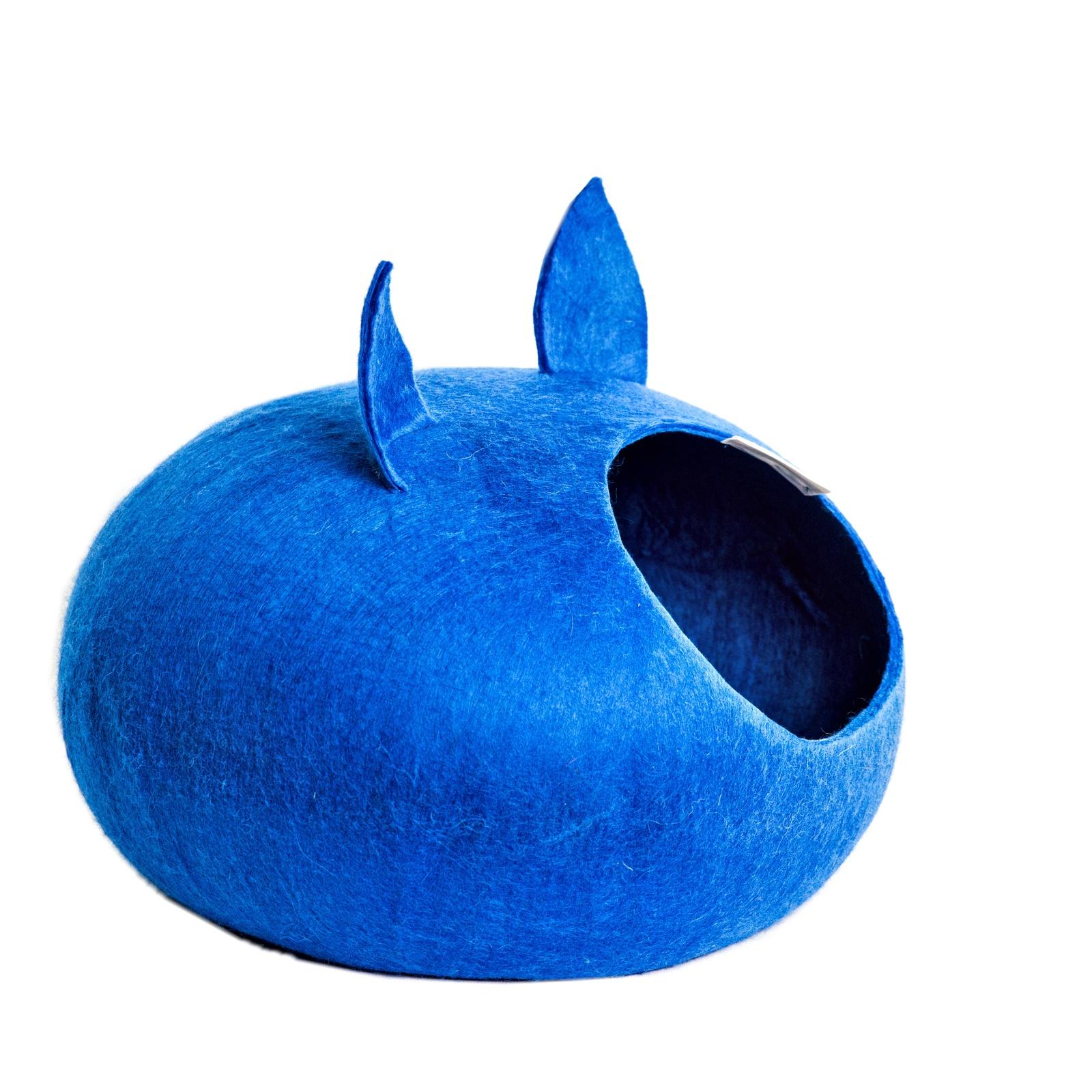 Домик для кошек и собак WoolPetHouse с ушками, синий, L домик слипер для животных zoobaloo woolpethouse с ушками цвет синий размер l