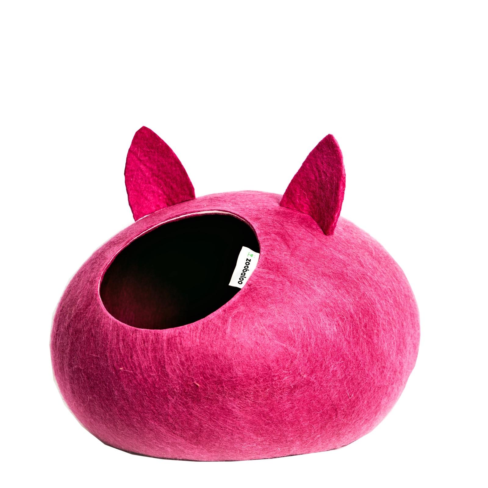 Домик для кошек и собак WoolPetHouse с ушками, малиновый, L домик слипер для животных zoobaloo woolpethouse с ушками цвет синий размер l