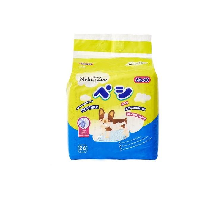 Пеленки для домашних животных Maneki NekiZoo, впитывающие одноразовые, р-р 60*60 см, 26 шт.