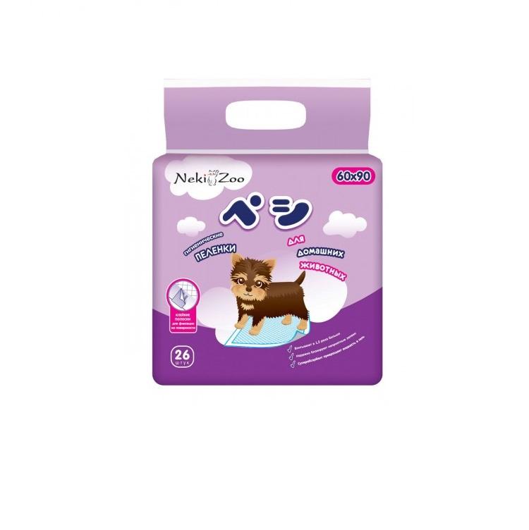 Пеленки для домашних животных Maneki NekiZoo, впитывающие одноразовые, р-р 60*90 см, 26 шт.