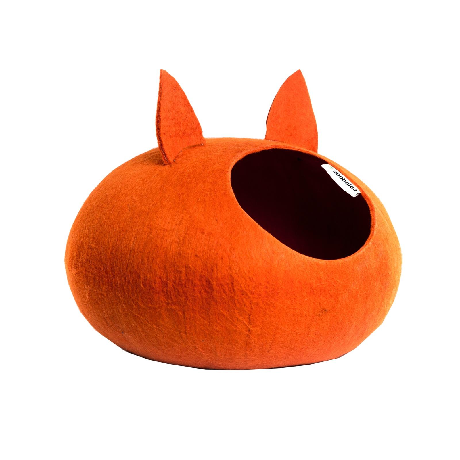 Домик для кошек и собак WoolPetHouse с ушками, оранжевый, L домик слипер для животных zoobaloo woolpethouse с ушками цвет синий размер l