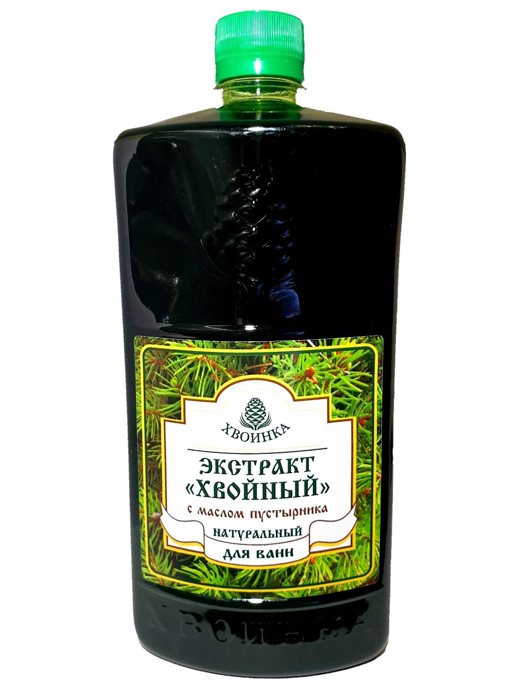 Хвоинка Экстракт хвойный натуральный для ванн с эфирным маслом Пустырника флакон, 1 л