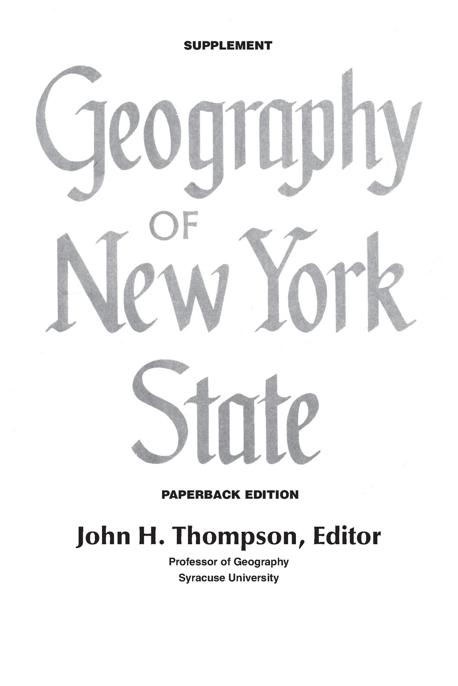 Geography of New York State Supplement